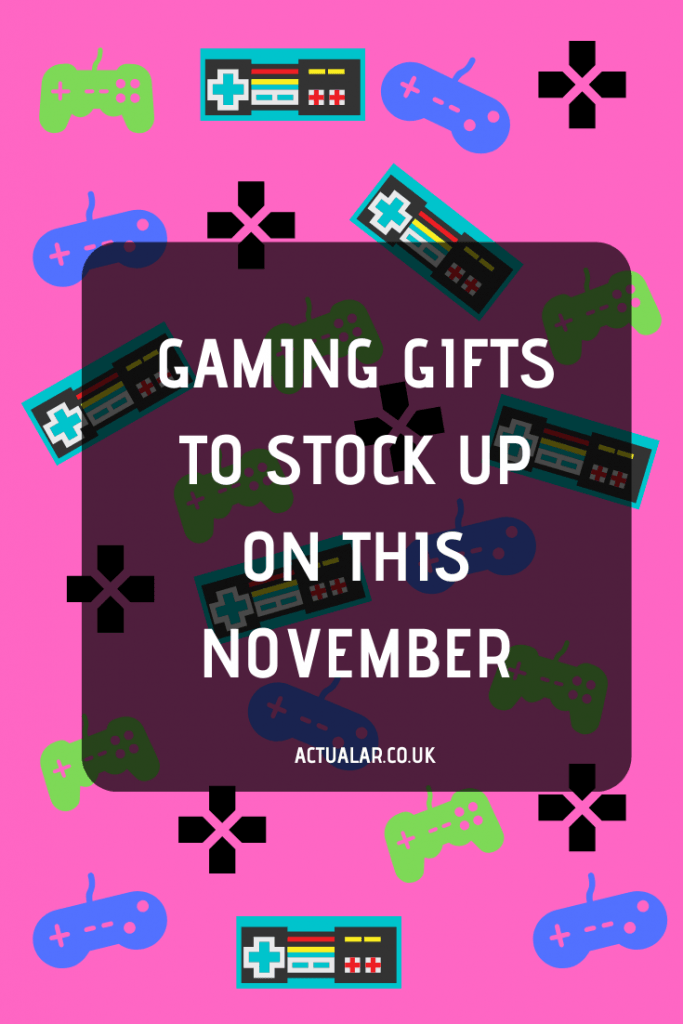 Graphic that says gaming gifts to stock up on this November